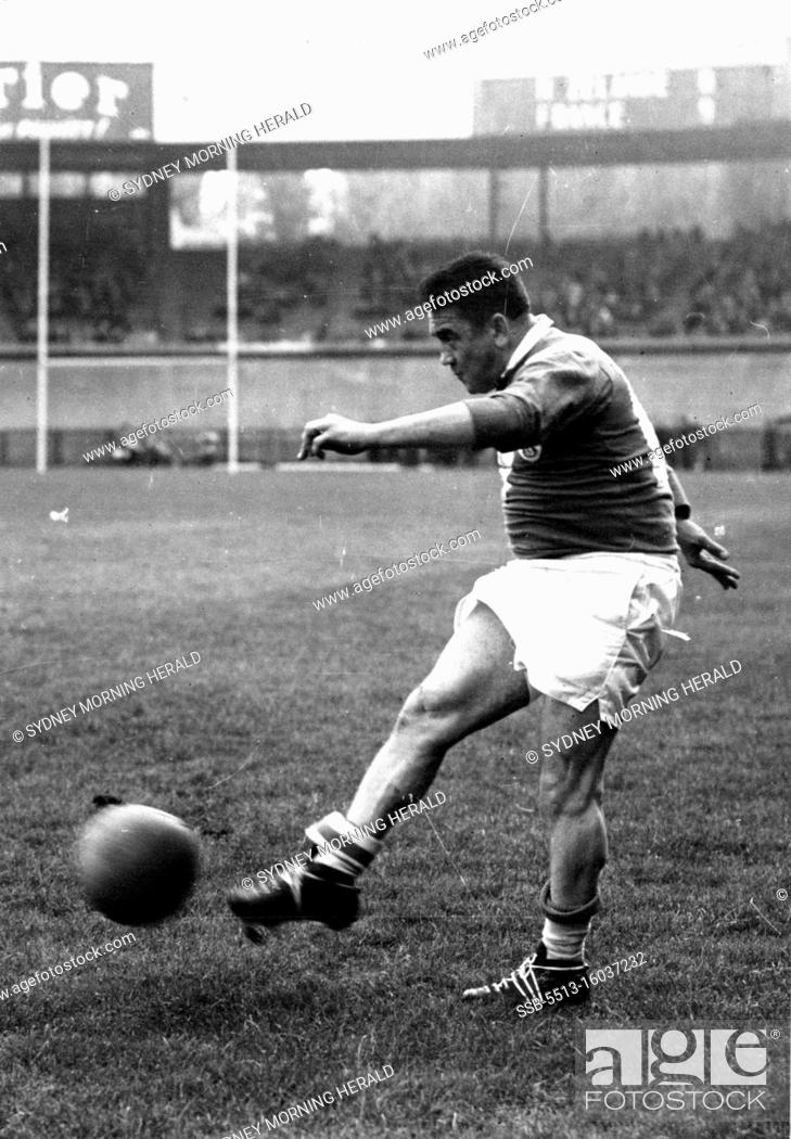 Stock Photo: Puig-Aubert kicks for goal. May 11, 1955.