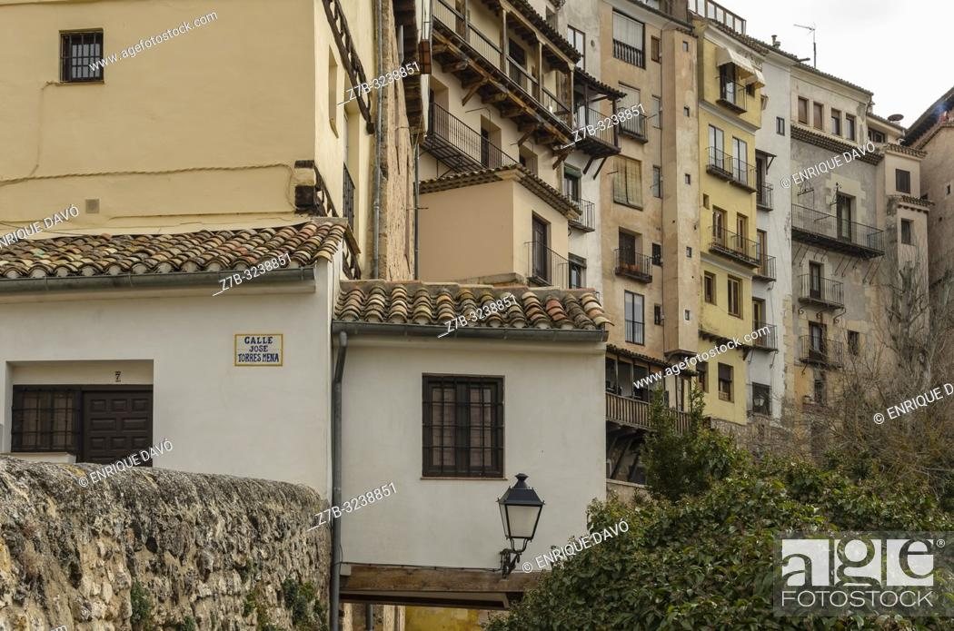Stock Photo: View of a white houses from Cuenca old town.