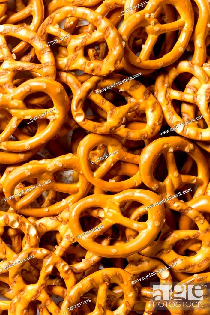 Stock Photo: Detail of small salt pretzels.