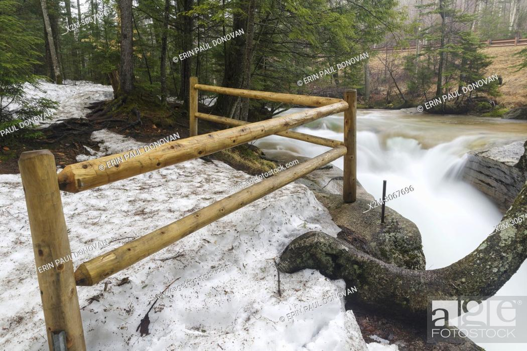 Stock Photo: The Baby Flume on the Pemigewasset River in Franconia Notch State Park of Lincoln, New Hampshire during the spring months.
