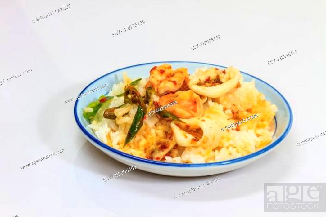 Stock Photo: Squid and shrimp fried with chili paste.