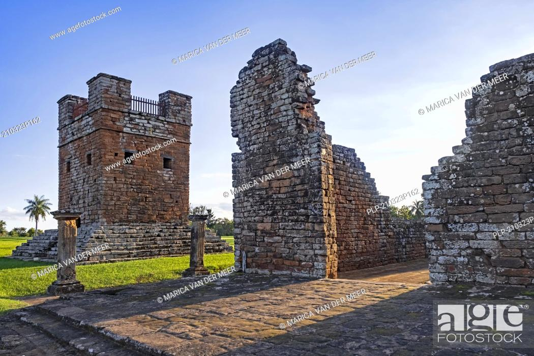 Stock Photo: La Santisima Trinidad de Paraná / Most Holy Trinity of Paraná, ruins of Jesuit reduction in Trinidad / Trinity near Encarnación, Itapúa, Paraguay.