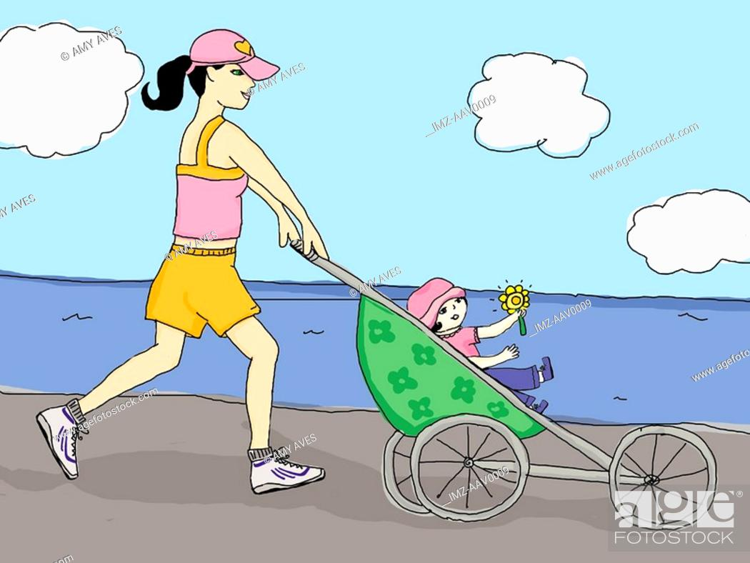 Stock Photo: mother jogging with her daughter.