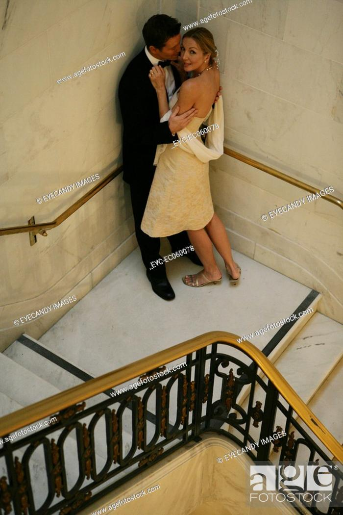 Stock Photo: Mature couple on a staircase.
