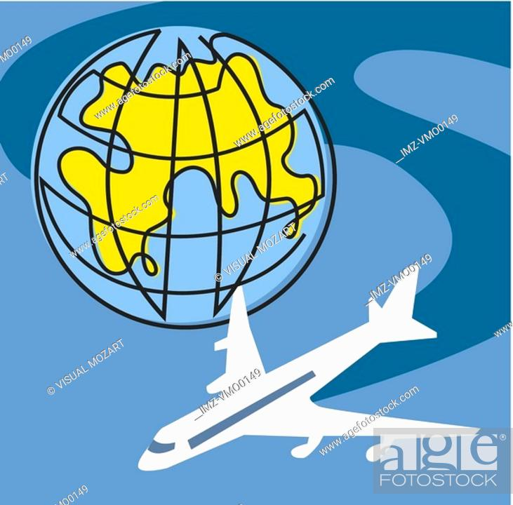 Stock Photo: Plane circling the globe.