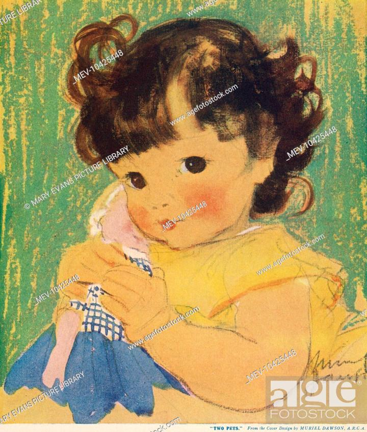 Stock Photo: An adorable little girl with big, brown eyes gazes at the viewer while cuddling her doll closely.
