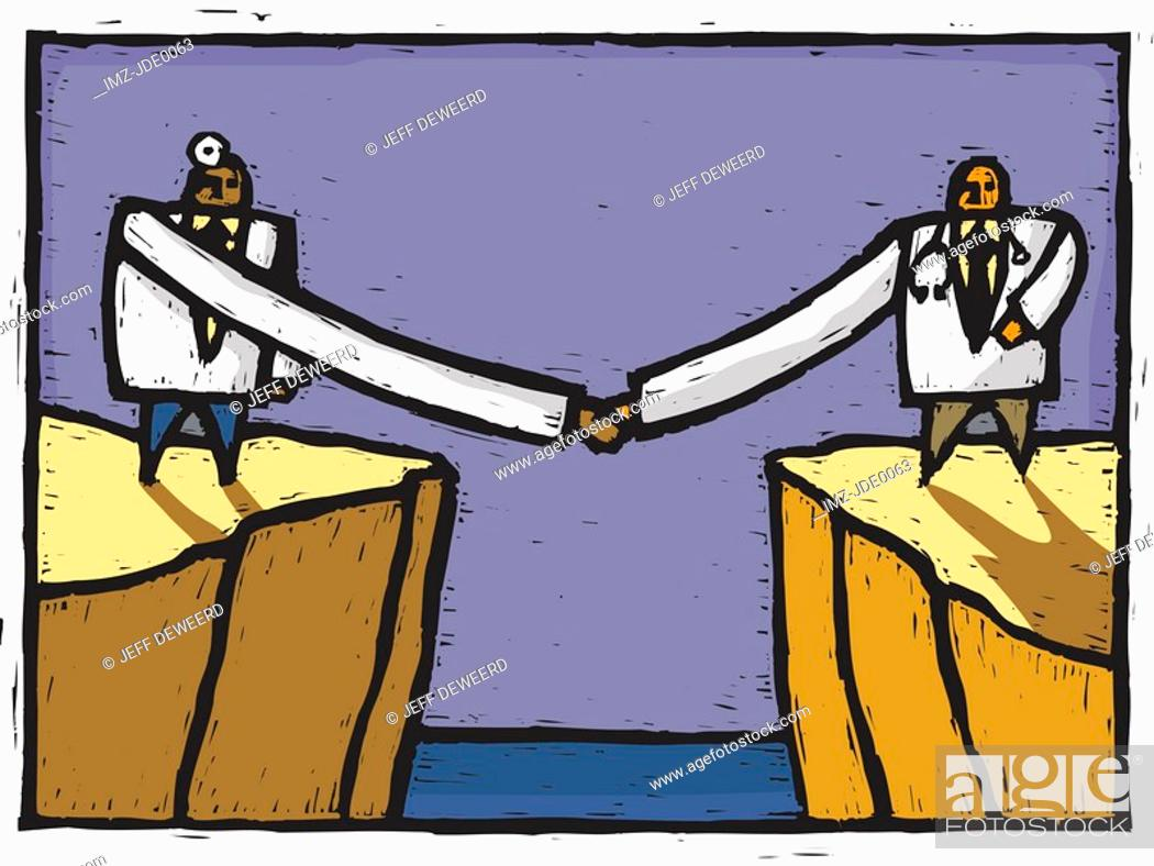 Stock Photo: Two doctors shaking hands over a chasm.