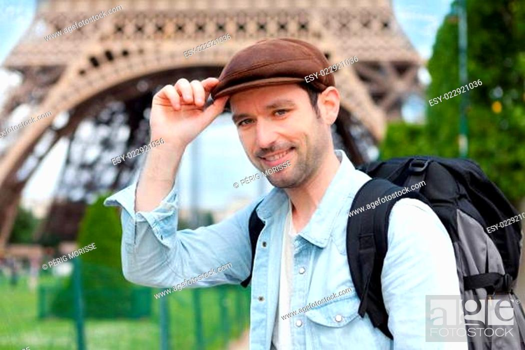 Stock Photo: Young attractive traveler in Paris.