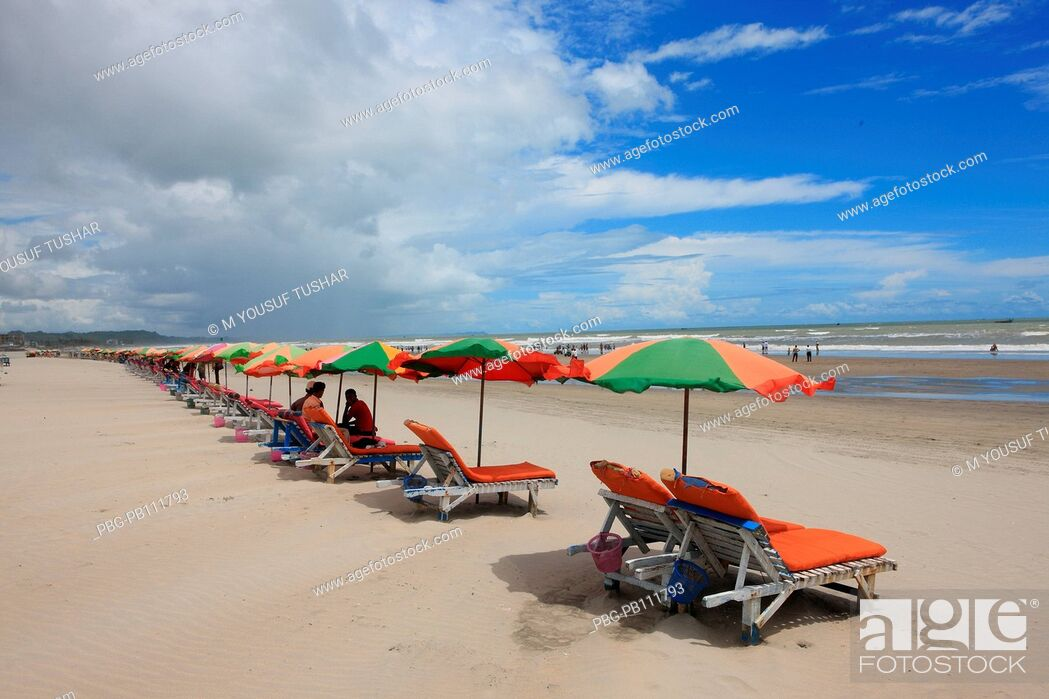Stock Photo: The worlds longest stretch of uninterrupted beach has made Coxs Bazar, a popular tourist spot Bangladesh.