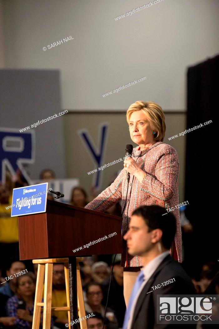 Stock Photo: Hillary Clinton rallies before Califorina primary to become the democratic nominee in her race towards the presidency on May 25, 2016 in Buena Park, California.