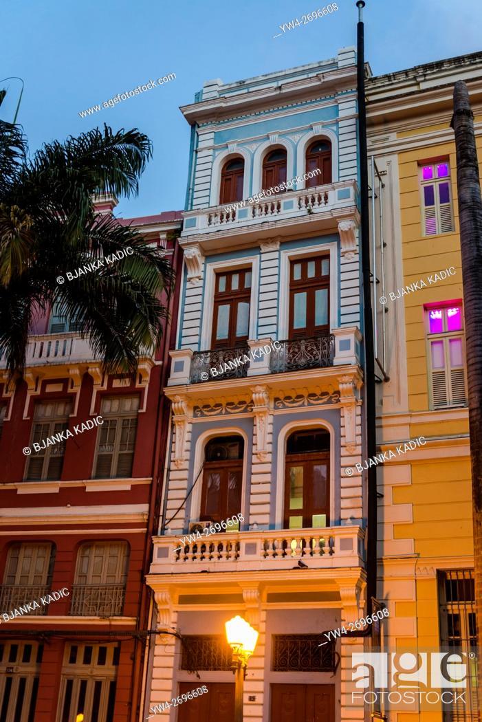 Stock Photo: Colonial architecture, Rua do Bom Jesus, Recife Antigo, Recife, Pernambuco, Brazil.