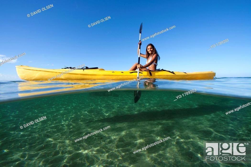 Stock Photo: Kayaking at Lahaina, Maui, Hawaii  Above and below view.