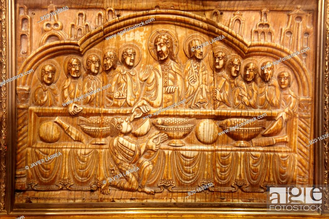 Stock Photo: Romanesque bas-relief carved in ivory, chest bearing the relics of San Felices (12th century), Yuso Monastery, San Millan de la Cogolla, La Rioja, Spain.