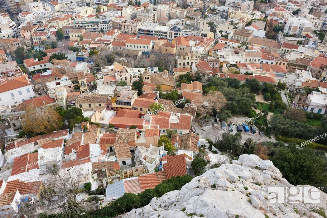 Stock Photo: The districts of Plaka, Psirri and Exarchia seen from The Acropolis. Athens. Greece.