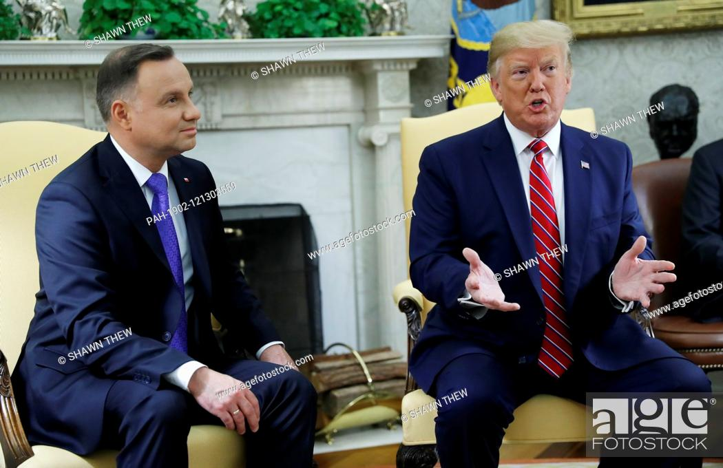 Stock Photo: US President Donald J. Trump (R) and Polish President Andrzej Duda (L) during a meeting in the Oval Office of the White House in Washington, DC, USA.