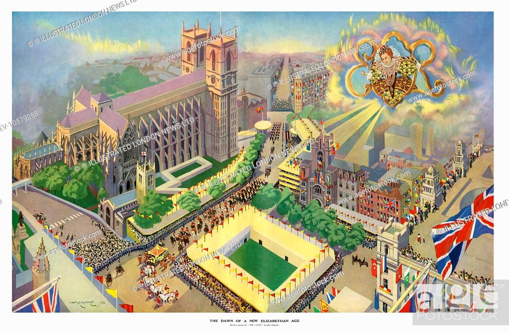 Stock Photo: Aerial view of Westminster Abbey and the surrounding area showing the pageantry of the Coronation procession, contrasted with the glorious reign of the first.
