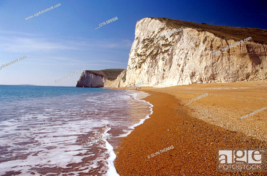 Stock Photo: Beach at Bat's Head, Dorset, England, UK.