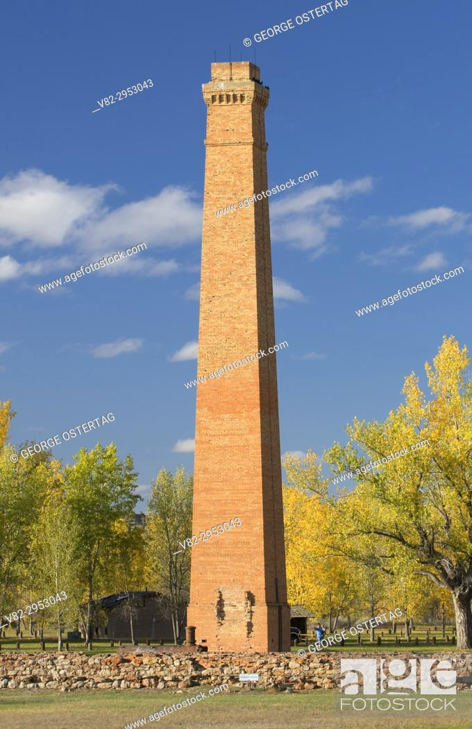 Stock Photo: Marquis de Mores' meat packing plant chimney, Chimney Park, Medora, North Dakota.
