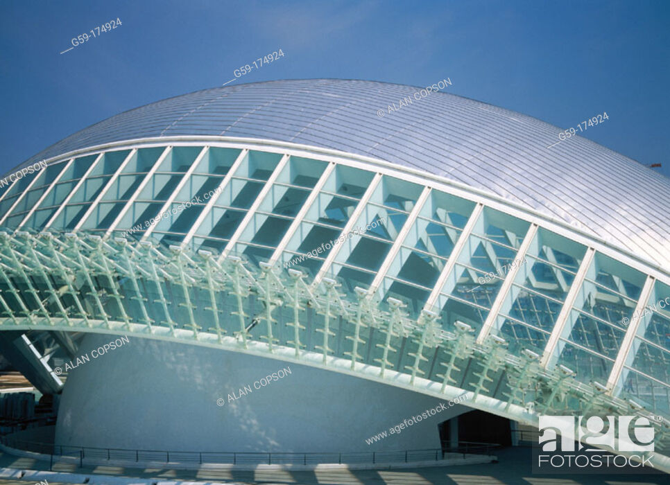 Stock Photo: Hemisferic (planetarium and cinema). City of Arts and Sciences, by S. Calatrava. Valencia. Spain.