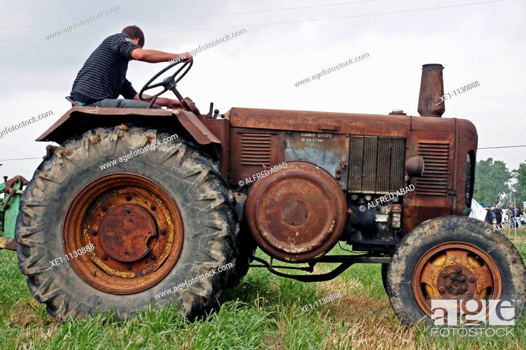 Stock Photo: Tractor, plowing contest, fira'10 de Vidreres, Catalonia, Spain.