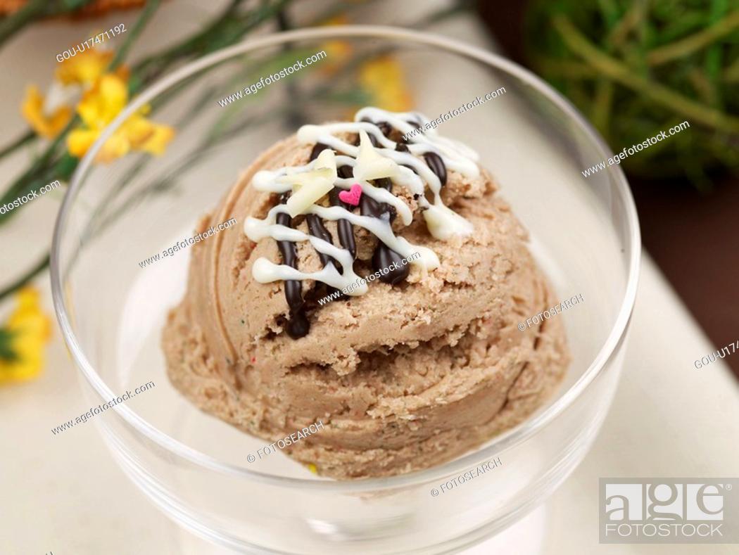 Stock Photo: flower, ice cream, table mat, ice cream cup, cup, leaf, icecream.