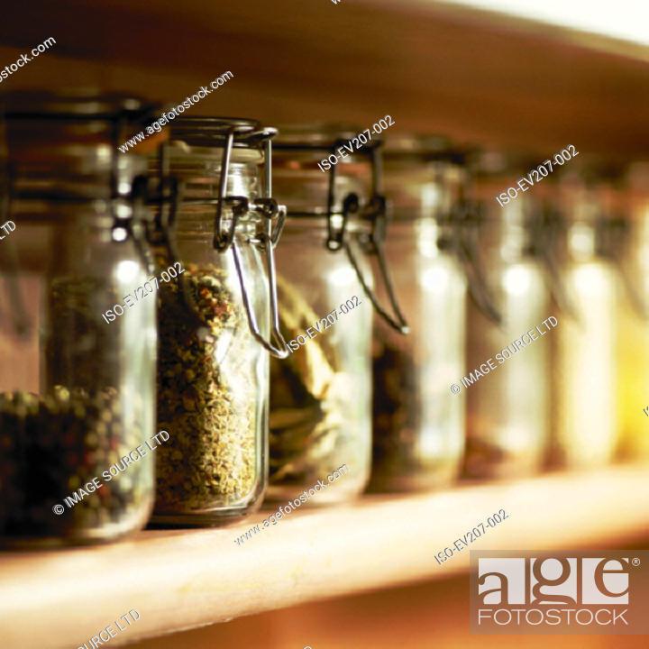 Stock Photo: Kitchen jars.