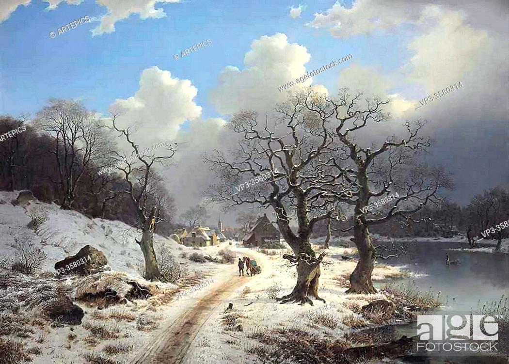 Stock Photo: Duntze Johannes Bertholomaus - a Frozen Winter Landscape - German School - 19th and Early 20th Century.