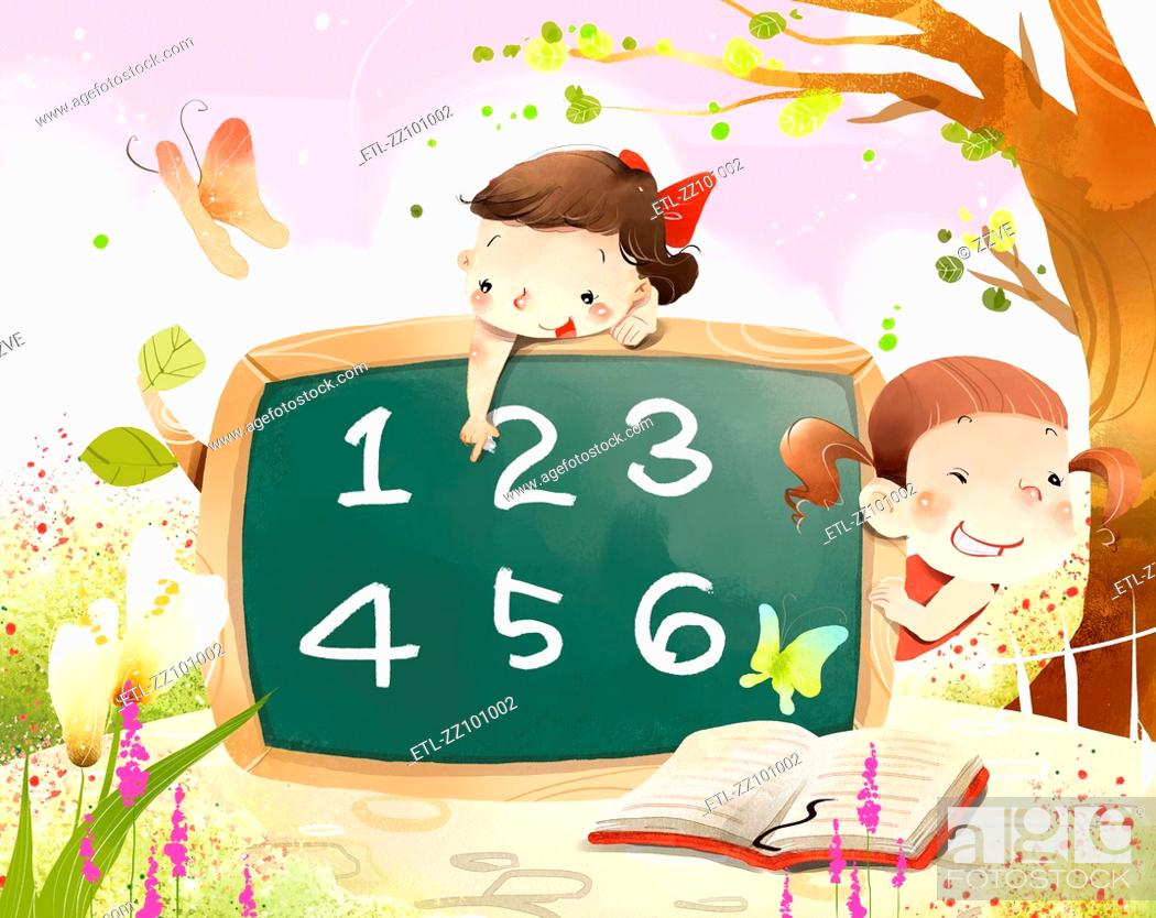 Stock Photo: Girls learning numerical value.