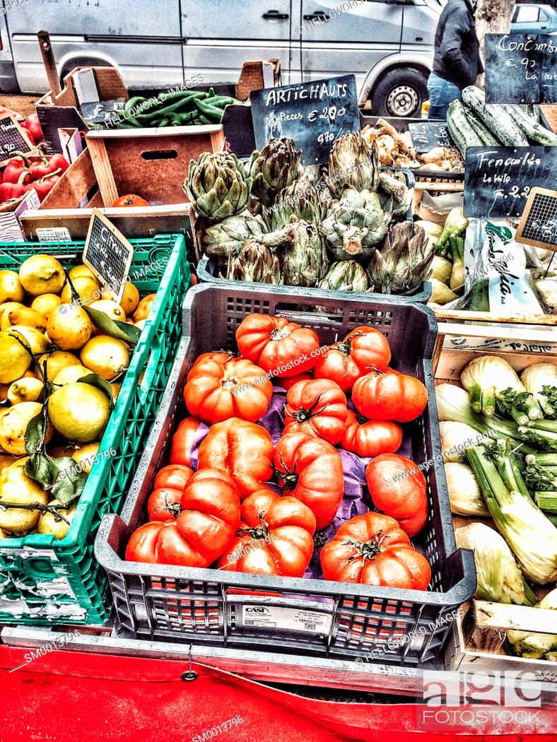Stock Photo: Fruit and vegetables on market stall, Clermont Ferrand, France, Europe.
