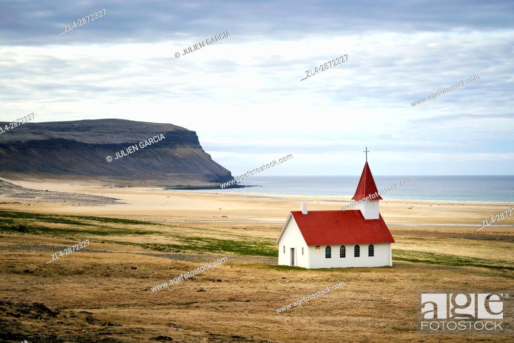 Stock Photo: Iceland, Westfjords, Vestfirdir region, church of Breidavik.