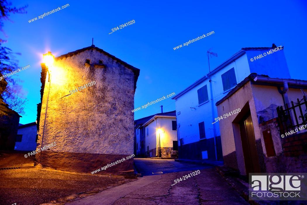 Stock Photo: Building in a square of Horcajo de la Sierra, Madrid, Spain.