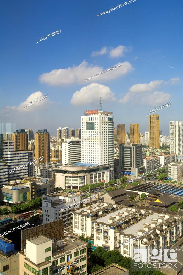 Stock Photo: aerial view of the city of ningbo  zejiang province  china  asia.