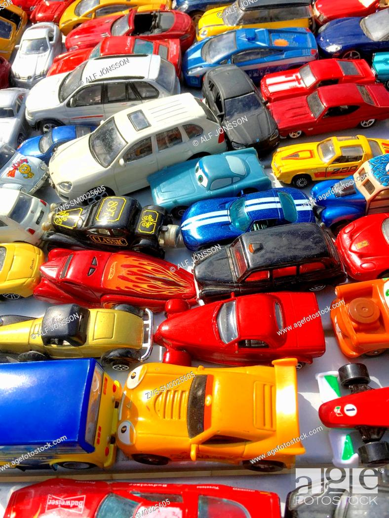 Photo de stock: Toy cars for sale on a flea market in Ystad, Scania, Sweden.