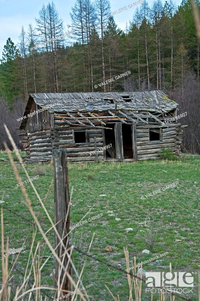Stock Photo: This old turn of the century abandoned homestead cabin in located in the hills near Republic Washington in a green field with mountains in the background and a.