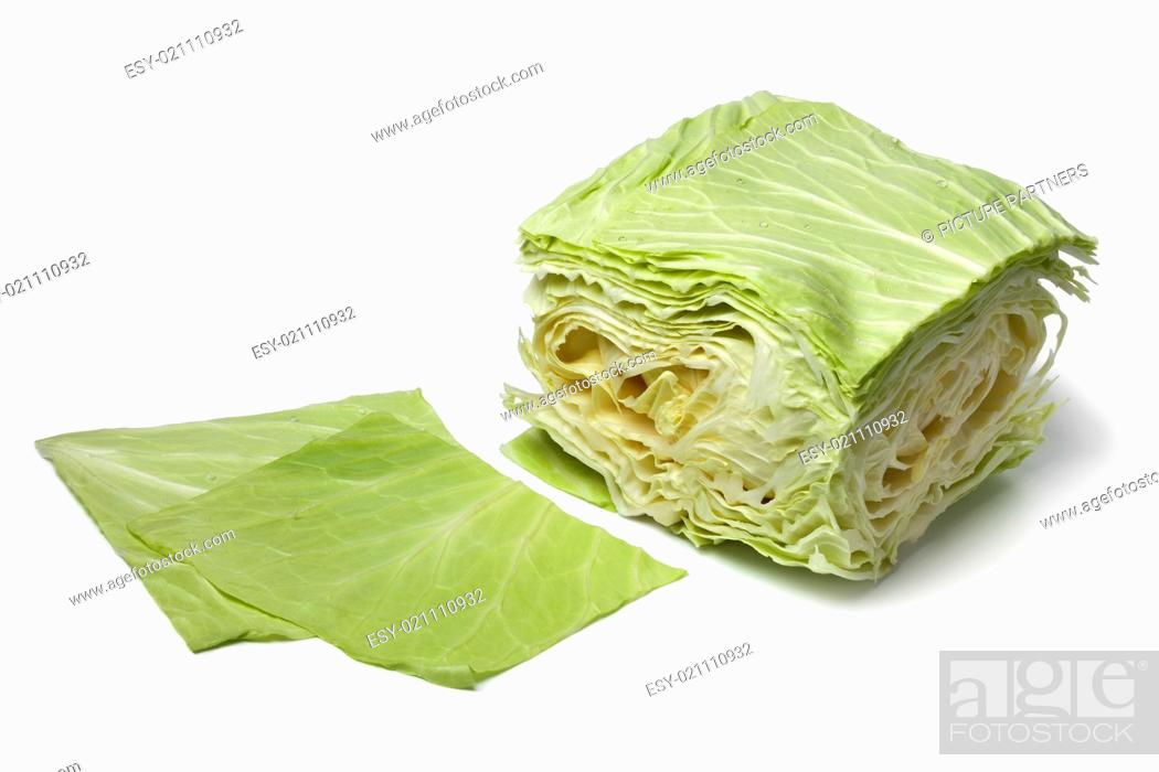 Photo de stock: Square coolwrap cabbage leaves on white background.