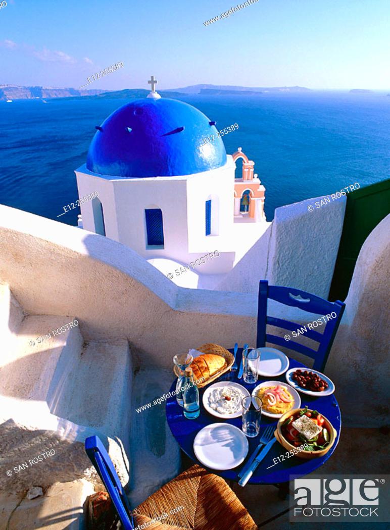 Stock Photo: Greece, Cyclades, Santorini Church. on the Caldeira at Oia, Greek food, Greek salad & Mezzes.