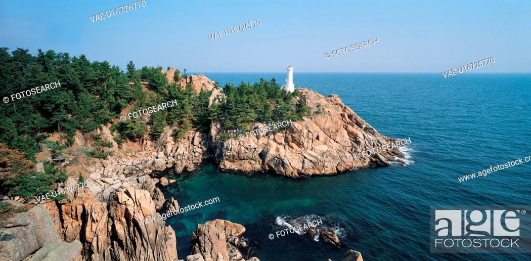Stock Photo: rock, sea, wave, sky, mountain, natural.