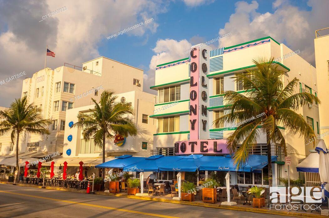 Imagen: Colony and Boulevard Hotel, South Beach, Ocean Drive, Miami, Florida, USA.