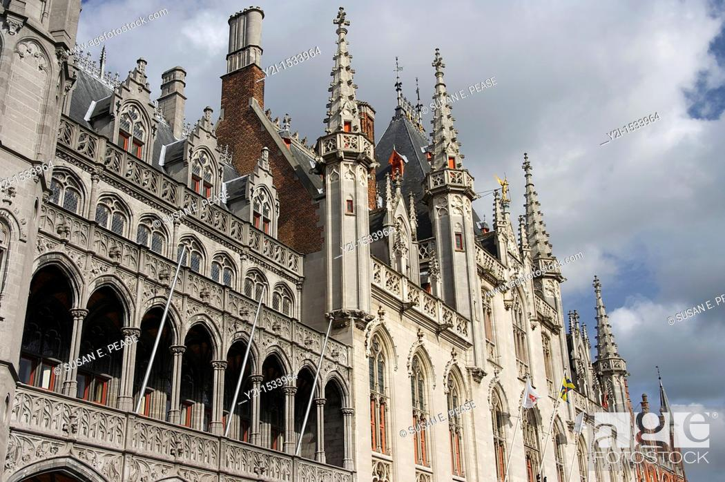 Stock Photo: Details of the architecture in the center of historic Bruges, Belgium.