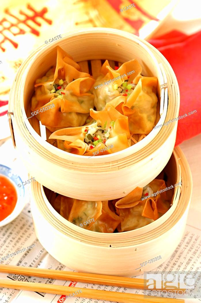 Stock Photo: Wontons with scallops and pork.