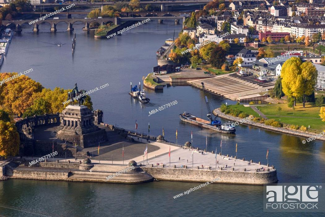Stock Photo: Germany, Rhineland-Palatinate, upper Middle Rhine Valley, Koblenz, the Rhine, Moselle mouth, Deutsches Eck, view from Ehrenbreitstein Fortress.