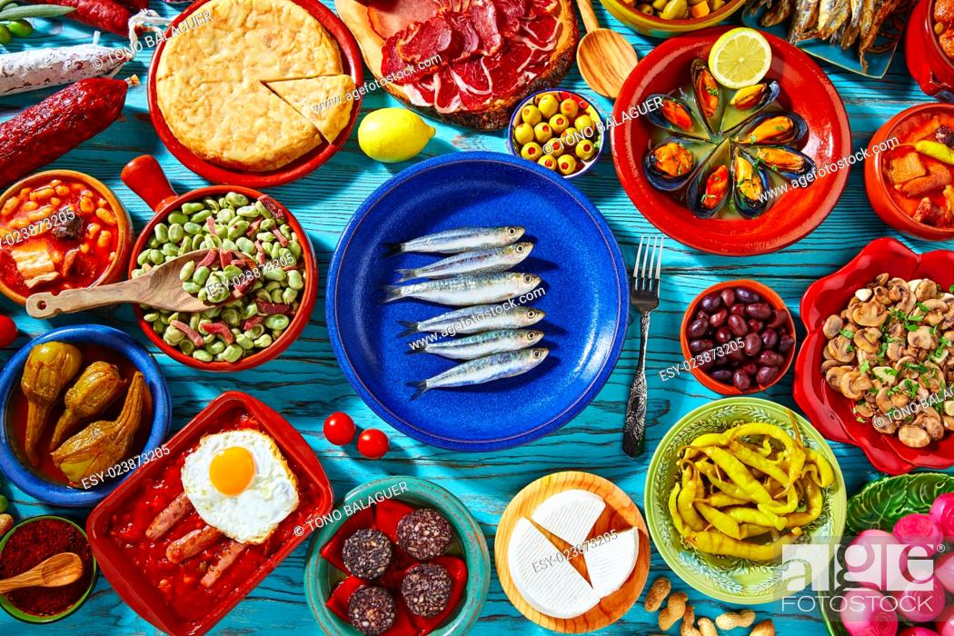 Photo de stock: Tapas from spain mix of most popular recipes of Mediterranean cuisine.