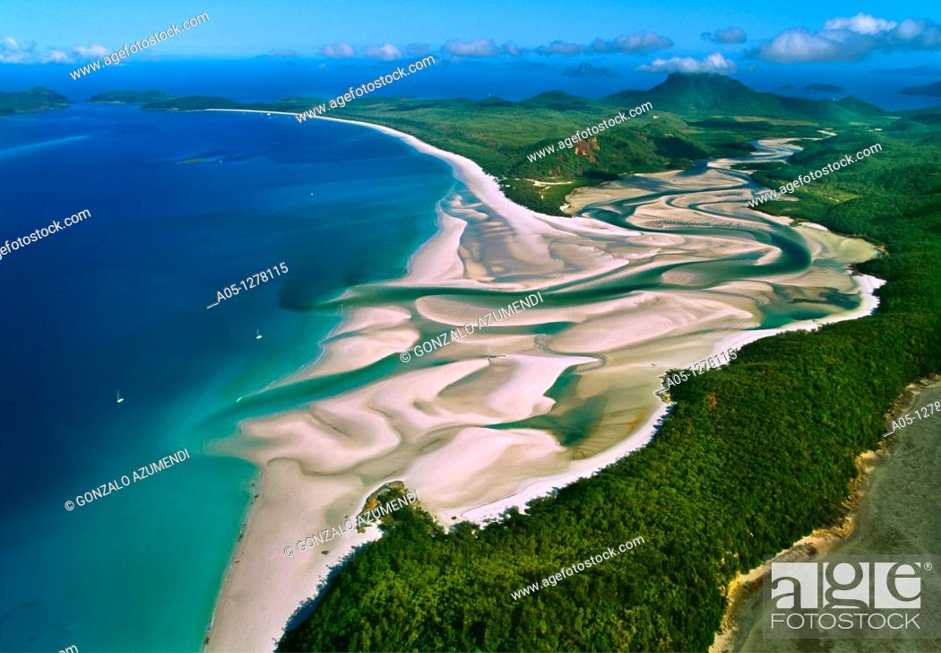 Stock Photo: Whitehaven Beach.Whitesunday Islands. Great Barrier Reef. Australia.