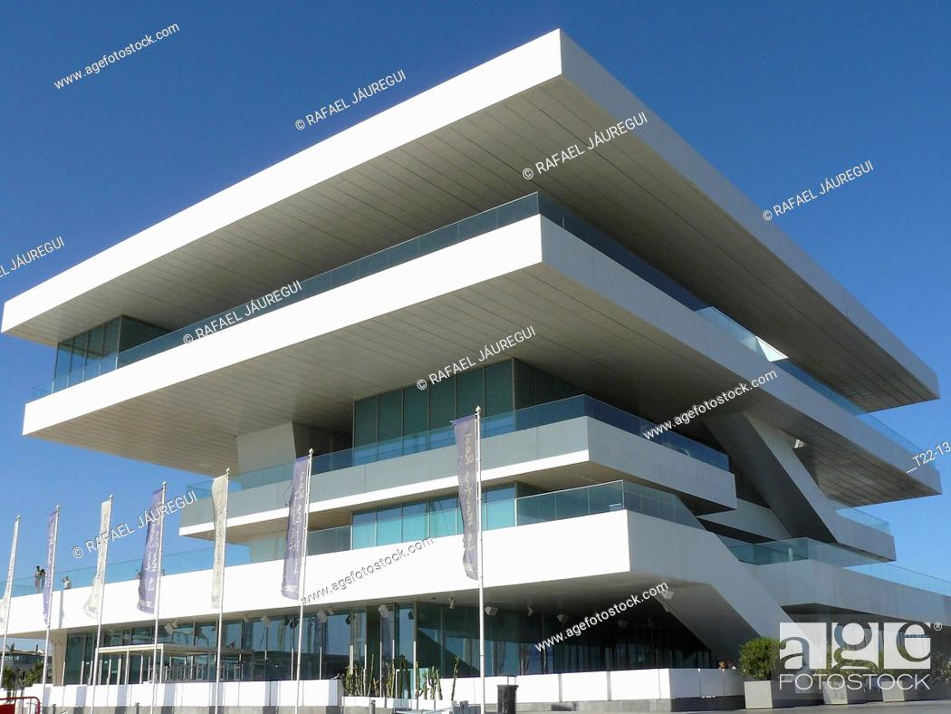 Stock Photo: Valencia Spain  Ryder Cup building in the port city of Valencia.