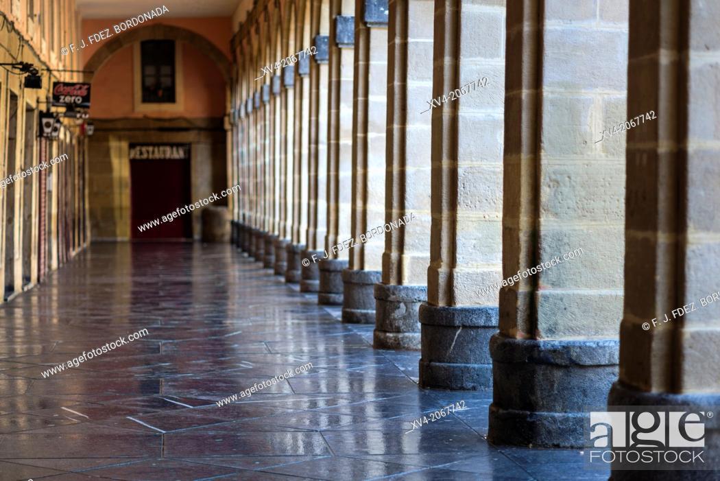 Stock Photo: Arcade of Constitucion Square, old town of San Sebastian, Basque Country, Spain.