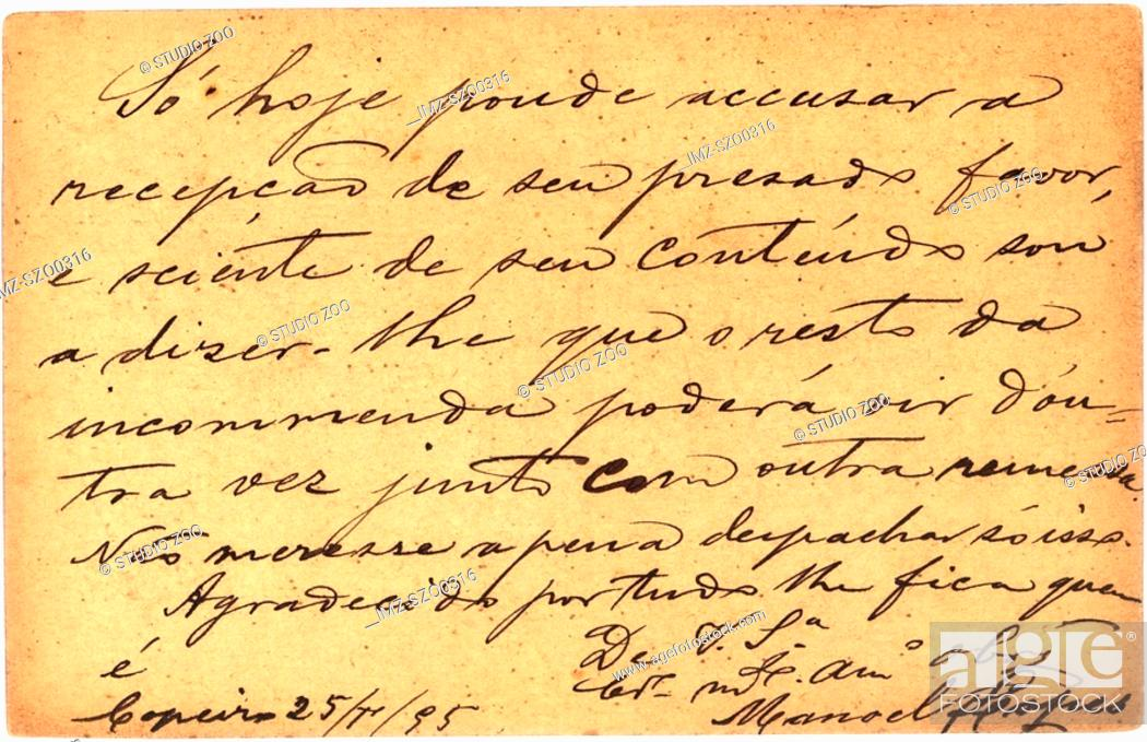 Stock Photo: Vintage postcard with script writing, 1895.