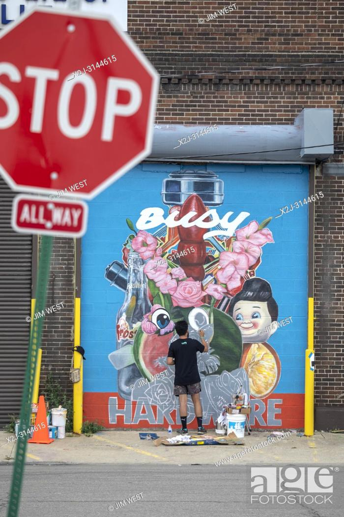 Stock Photo: Detroit, Michigan - The annual Murals in the Market public art festival in Detroit's Eastern Market district. Each fall, artists create dozens of outdoor murals.
