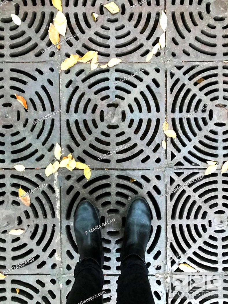 Stock Photo: Street grille. View from above.
