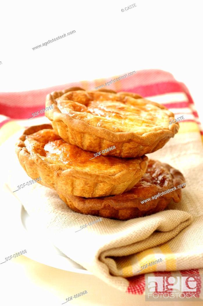 Stock Photo: individual cheese tarts.