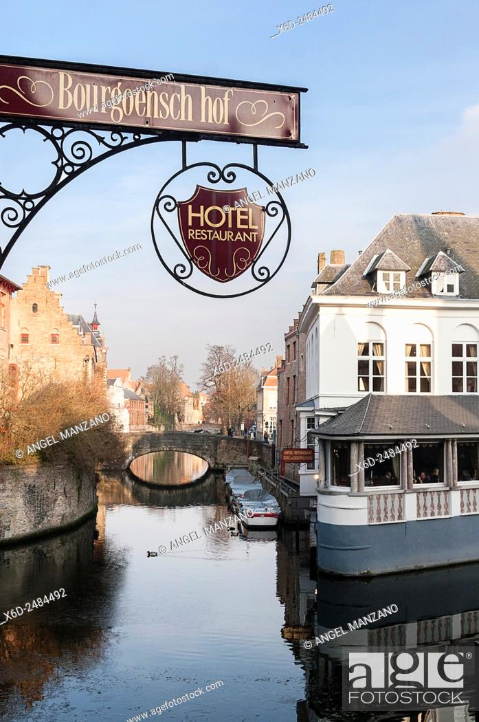 Stock Photo: Water canal in Bruges, Belgium.